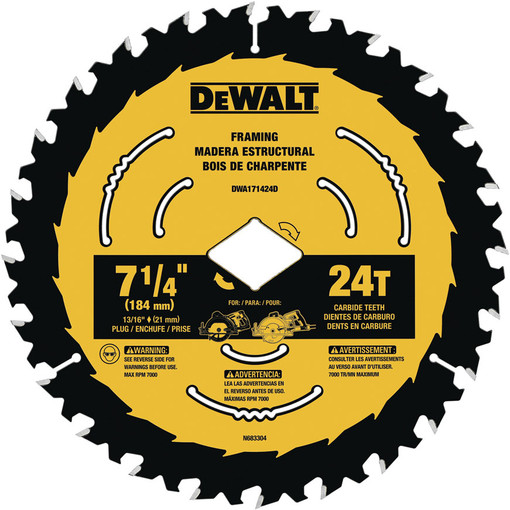 Diablo Tools D0724A 7-1//4 in x 24 Tooth Framing Saw Blade